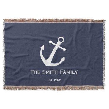 Beach Themed Custom Family Name and Established Blue Nautical Throw