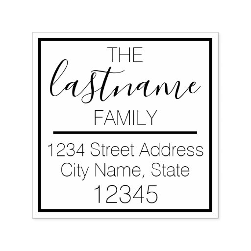 Custom Family Name and Return Address - blooming Self-inking Stamp
