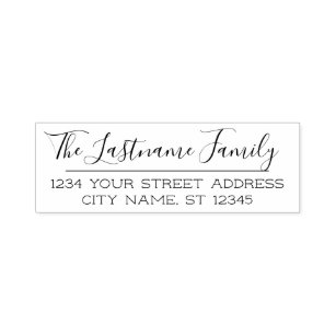 Custom Family Name And Return Address Handwritten Self Inking Stamp