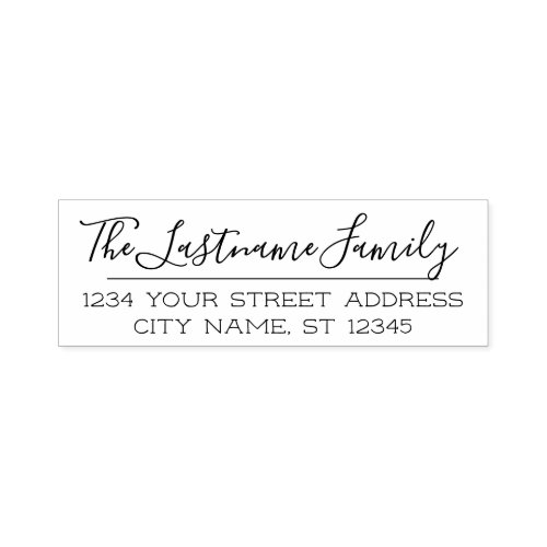 Custom Family Name and Return Address Handwritten Self_inking Stamp