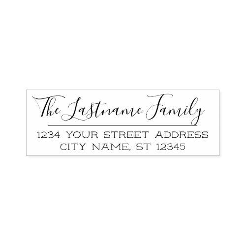 Custom Family Name and Return Address Handwritten Self_inking Stamp