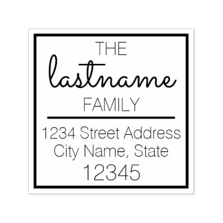 Custom Family Name and Return Address - Sacramento Self-inking Stamp