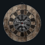 """Custom Family Name Established Date Dart Board<br><div class=""""desc"""">Faux wooden background with monogram and family name in center of the board. Other colors available in the shop.</div>"""