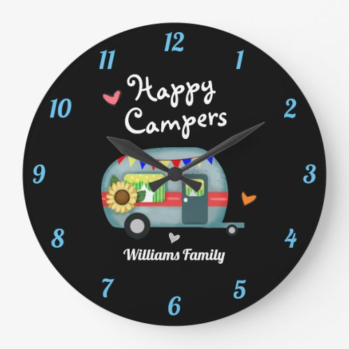 Custom Family Name Happy Campers Large Clock