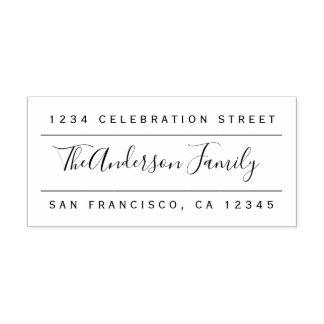 Custom Family Name | Modern Return Address Rubber Stamp