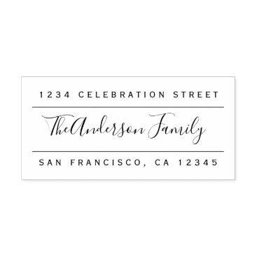 invintage Custom Family Name | Modern Return Address Rubber Stamp