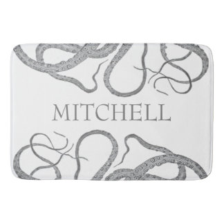 Custom family name nautical octopus kraken II Bathroom Mat