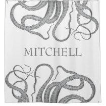 Custom family name nautical octopus kraken shower curtain