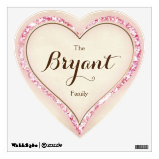 Custom Family Name Pink & Brown Floral Heart Wall Decal