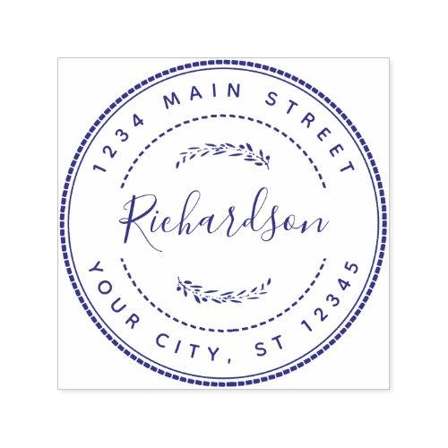Custom Family Name Round Return Address Self_inking Stamp