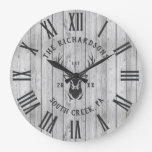 Custom Family Name Rustic Farmhouse Wood Modern Large Clock