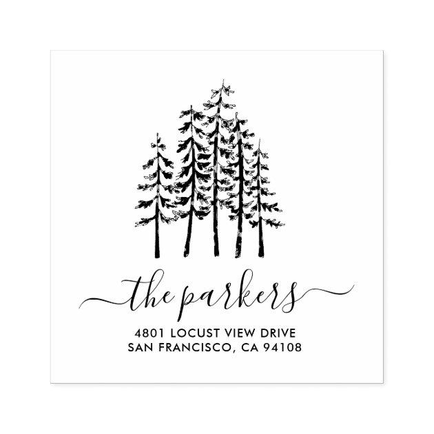 Custom Self Inking Personalized name business family return address tree stamp