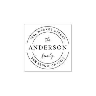 Custom Family Name Wooden Round Return Address Rubber Stamp