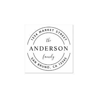 Custom Family Name | Wooden Round Return Address Rubber Stamp