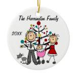 Custom Family Parents, Baby Girl, Cat Ornament