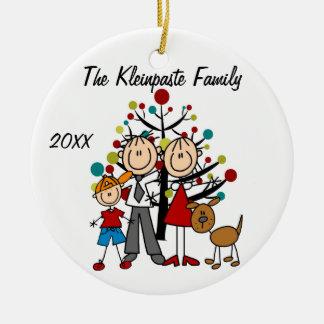 Custom Family Parents, Boy, Dog Holiday Ornament