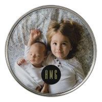 Custom Family Photo and Monogram Golf Ball Marker