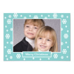 Custom Family Photo Christmas Flat Card -- Teal Personalized Invitation