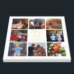 "Custom family photo collage &quot;All you need is love&quot; Canvas Print<br><div class=""desc"">Unique canvas with your family photo collage and the quote &quot;all you need is love&quot; in golden letters and all is on a white background. This would make a lovely family photo gift with your photos from your pc or Instagram. Want a different background color ? Click the &quot;Customize&quot; button...</div>"