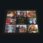 "Custom family photo collage ""All you need is love"" Canvas Print<br><div class=""desc"">Unique canvas with your family photo collage and the quote ""all you need is love"" in golden letters and all is on a black background. This would make a lovely family photo gift with your photos from your pc or Instagram. Want a different background color ? Click the ""Customize"" button...</div>"