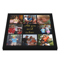 "Custom family photo collage ""All you need is love"" Canvas Print"