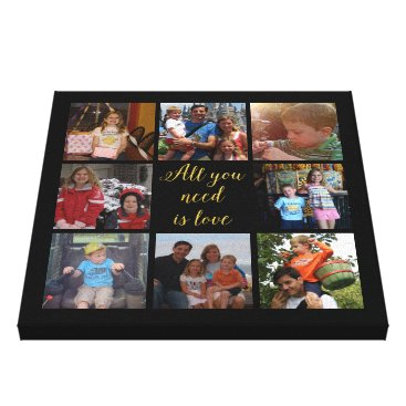 """lovableprintable Custom family photo collage """"All you need is love"""" Canvas Print"""