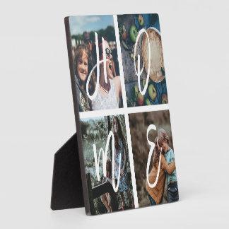 Custom Family Photo Collage Brush Script HOME Plaque