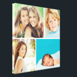 "Custom Family Photo Collage Canvas Print<br><div class=""desc"">Beautiful personalized canvas wall art print with 4 of your custom family photos arranged in a square grid photo collage. Add your favorite family photos and create a beautiful keepsake canvas art print. Click Customize It to move photos around, add text, and customize fonts and colors. Great gift for family,...</div>"