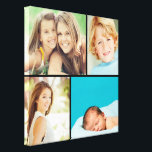 """Custom Family Photo Collage Canvas Print<br><div class=""""desc"""">Beautiful personalized canvas wall art print with 4 of your custom family photos arranged in a square grid photo collage. Add your favorite family photos and create a beautiful keepsake canvas art print. Click Customize It to move photos around, add text, and customize fonts and colors. Great gift for family,...</div>"""