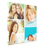 Custom Family Photo Collage Canvas Print<br><div class='desc'>Beautiful personalized canvas wall art print with 4 of your custom family photos arranged in a square grid photo collage. Add your favorite family photos and create a beautiful keepsake canvas art print. Click Customize It to move photos around, add text, and customize fonts and colors. Great gift for family,...</div>