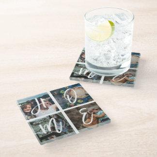 Custom Family Photo Collage Keepsake HOME Glass Coaster