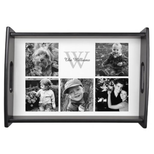 Custom Family Photo Collage Service Tray
