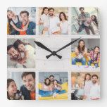 Custom Family Photo Collage Rustic Modern Wood Square Wall Clock