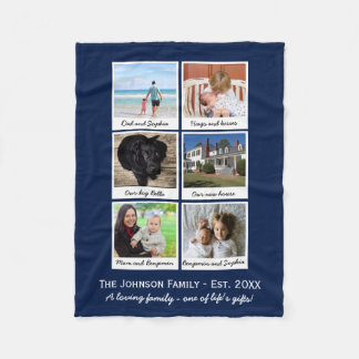 Custom Family Photo Collage Your Color Choice Fleece Blanket