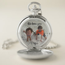 Custom Family Photo Grandpa Silver Pocket Watch
