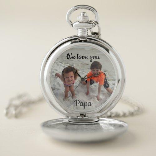 Custom Family Photo Grandpa Silver Pocket Watch