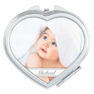 Custom Family Photo Heart Compact Mirror
