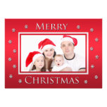Custom Family Photo Merry Christmas Flat Card Personalized Announcement