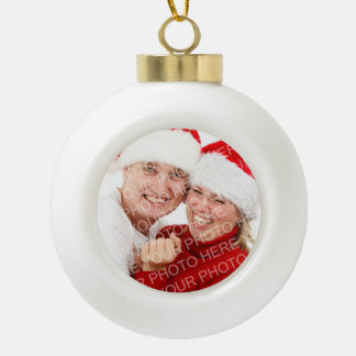 Custom family photo merry Christmas holiday Ceramic Ball Christmas Ornament