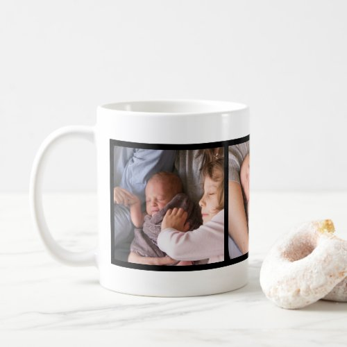 Custom Family Photo Modern Black Frame Coffee Mug