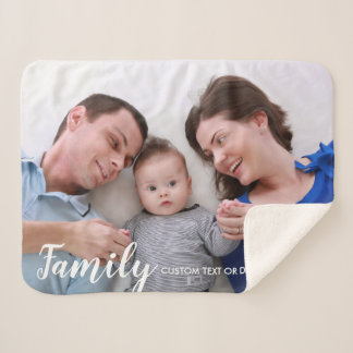 Custom Family Photo Modern Script Personalized Sherpa Blanket