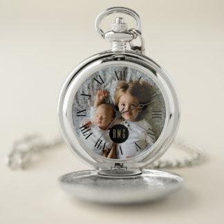 Custom Family Photo | Monogram | Roman Numeral Pocket Watch