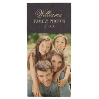 Custom Family Photo Monogram USB Flash Drive Wood USB 2.0 Flash Drive