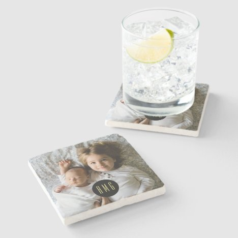 Custom Family Photo | Monogrammed Stone Coaster