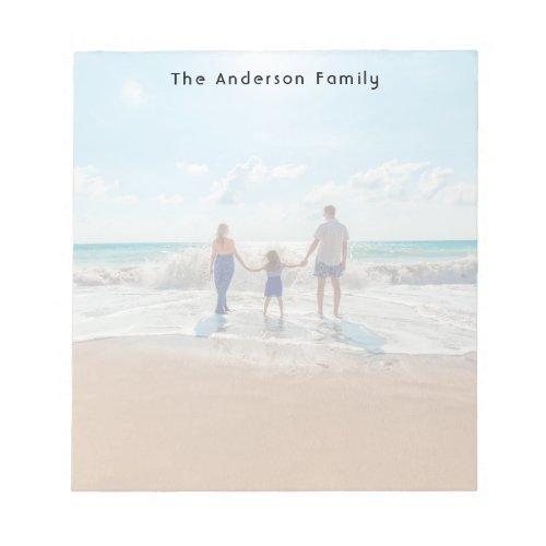 Custom family photo on beach notepad