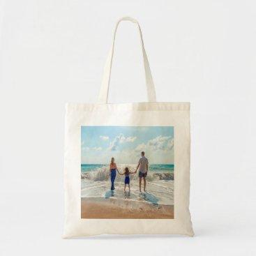 Beach Themed Custom family photo on beach tote bag