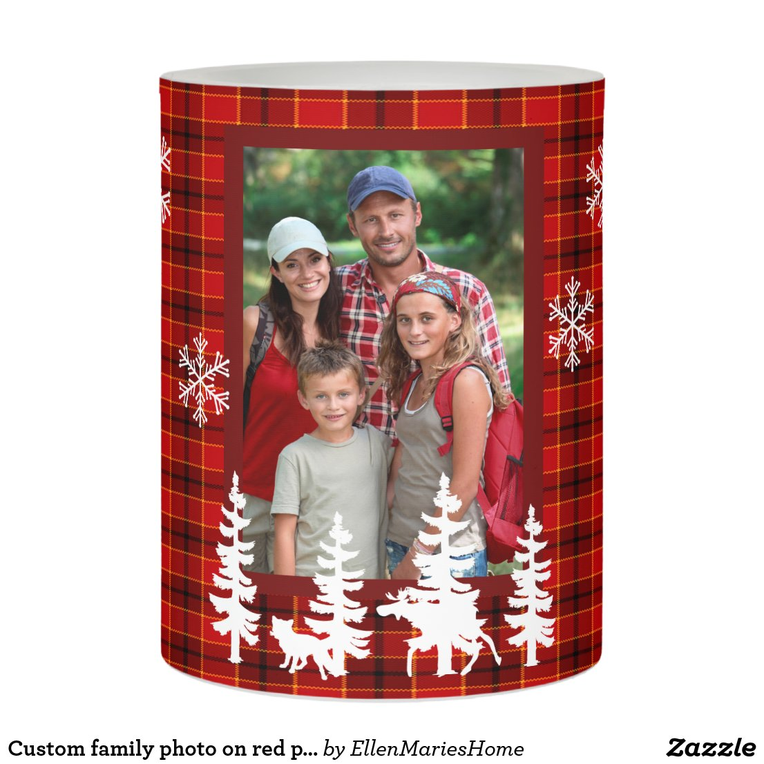 Custom family photo on red plaid forest snowflakes