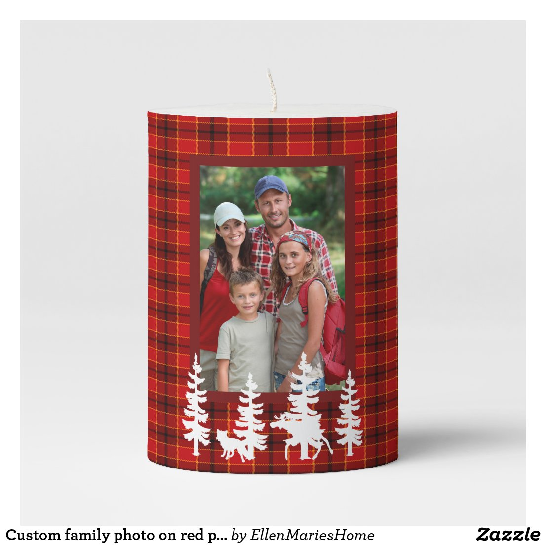 Custom family photo on red plaid pattern forest