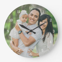 Custom Family Photo Overlay Large Clock
