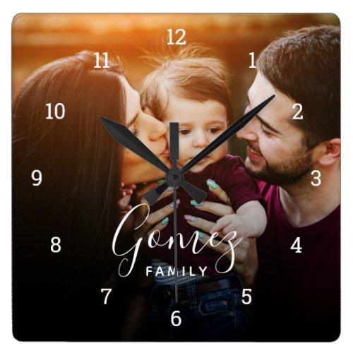 Custom Family Photo Overlay Monogrammed Square Wall Clock